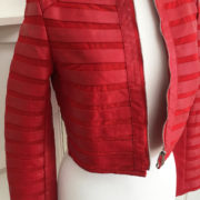Red Stripe Detail Faux Leather Cropped Jacket (2)