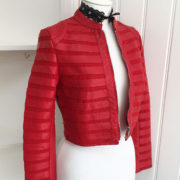 Red Stripe Detail Faux Leather Cropped Jacket (4)
