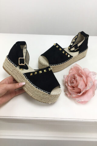 fc0ce9d92cfd Black Studded Espadrille Wedge Sandals