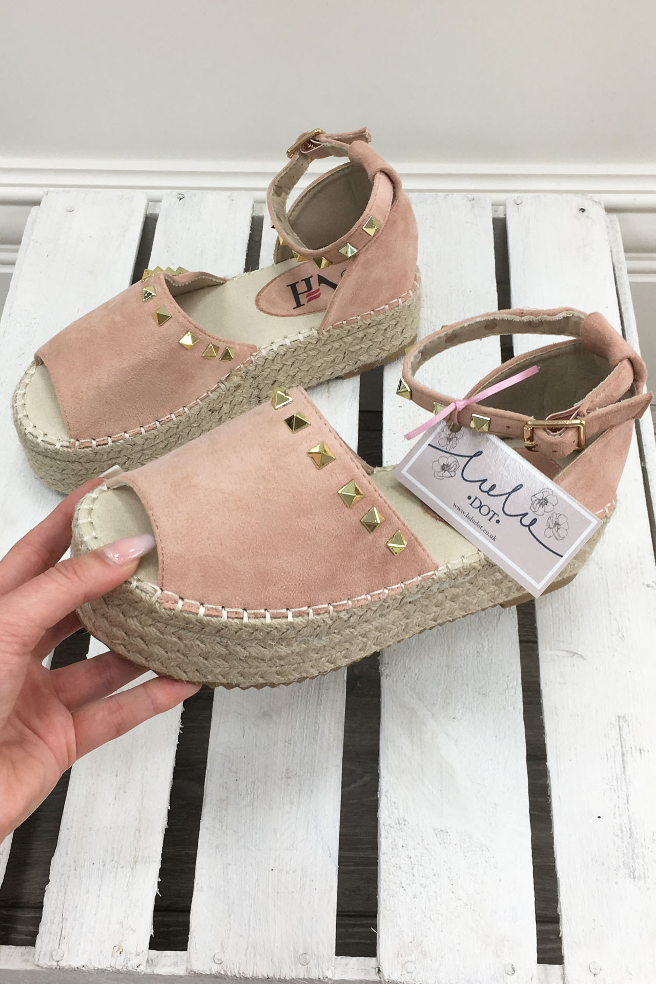 7f87bb8224f1 Dusky Pink Studded Espadrille Wedge Sandals (3) - LuluDot