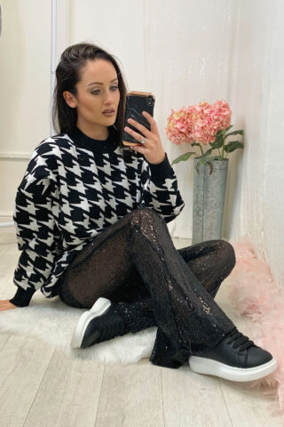 Black Sequin Flared Trousers