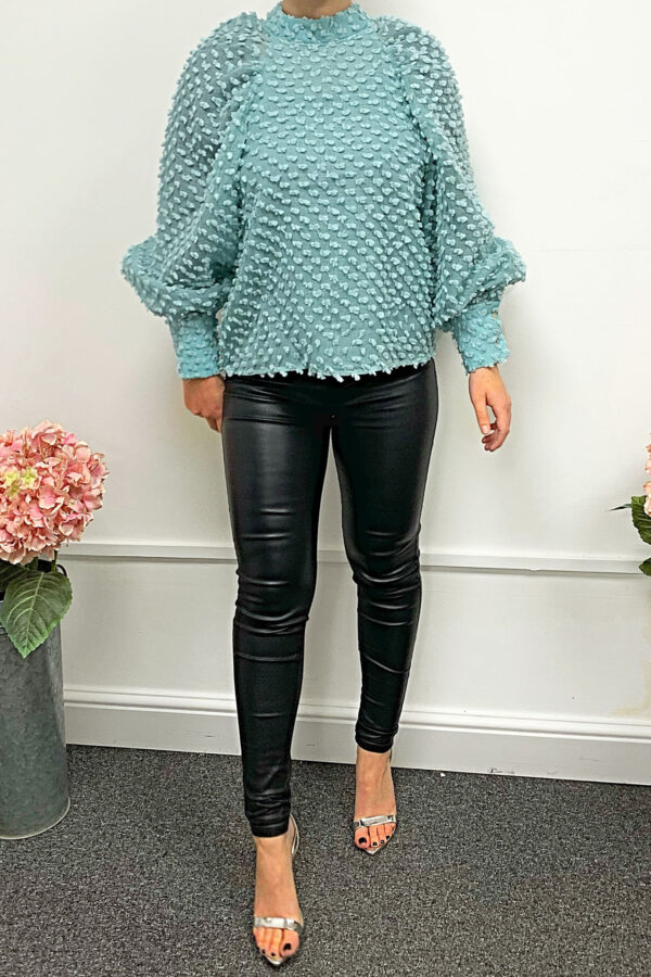 Blue Top in Dotty Textured Fabric