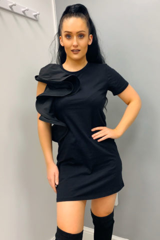 Black Ruffle T-Shirt Dress