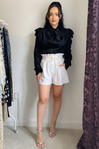 Black Satin Bow Top