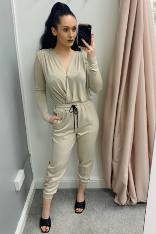 Beige Satin Cropped Joggers
