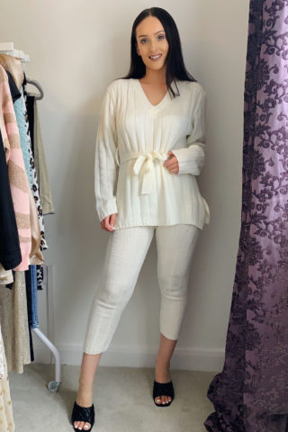 Cream Knitted Loungewear Set