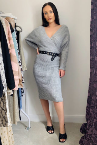 Grey Knitted Midi Dress
