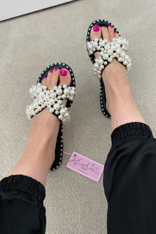 Black Pearl Stud Sandals