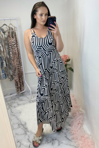 Multi Print Slinky Dress