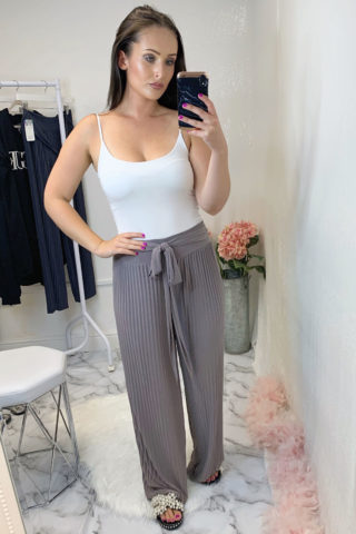 Taupe Stretchy Pleated Trousers