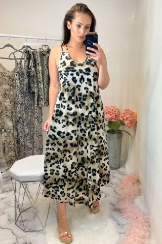 Animal Print Slinky Dress in Khaki