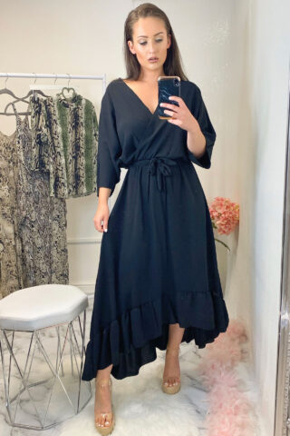 Black Belted Midi Dress