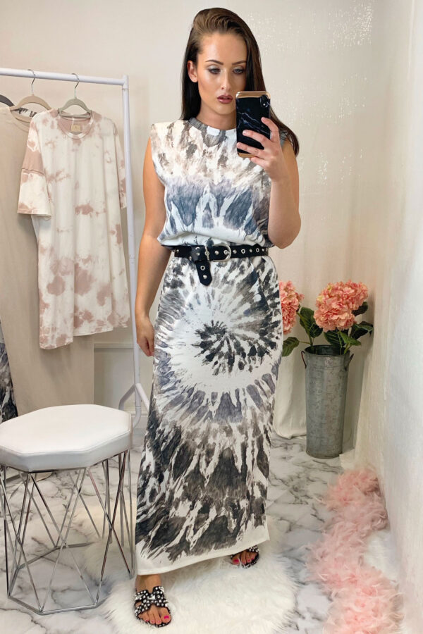 Grey Tie Dye Shoulder Pad Dress