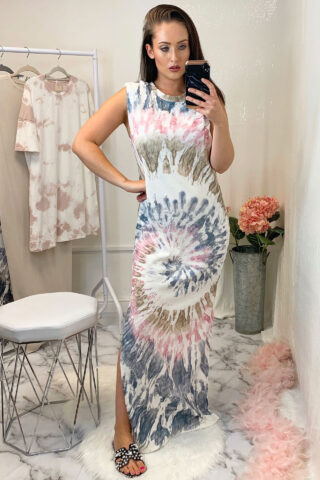 Pink Tie Dye Shoulder Pad Dress