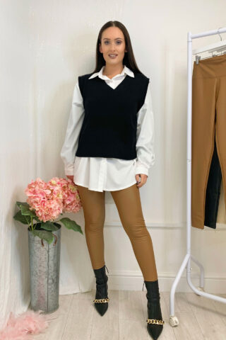 Black Knitted Vest Jumper with Shirt