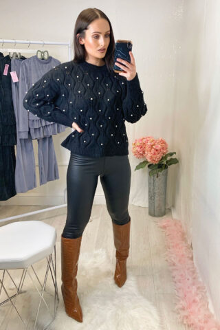 Black Knitted Pearl Jumper