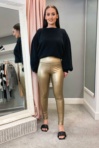 Gold Leather Look Leggings